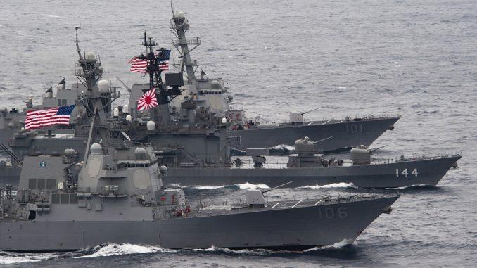 سفن حربية أميركية ويابانية