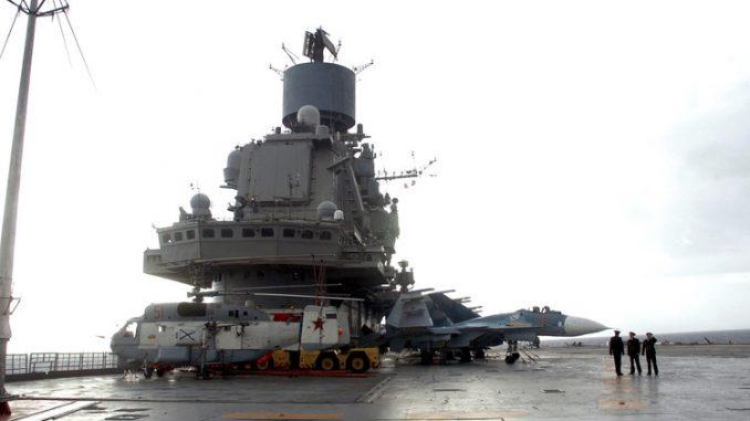 """حاملة الطائرة الروسية """"الاميرال كوزنيتسوف"""" في ميناء طرطوس"""