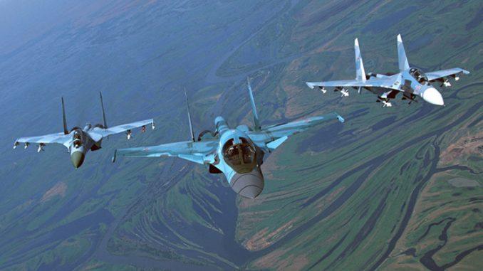 "مقاتلات سوخوي من طراز ""سو-27"" و""سو-34"""