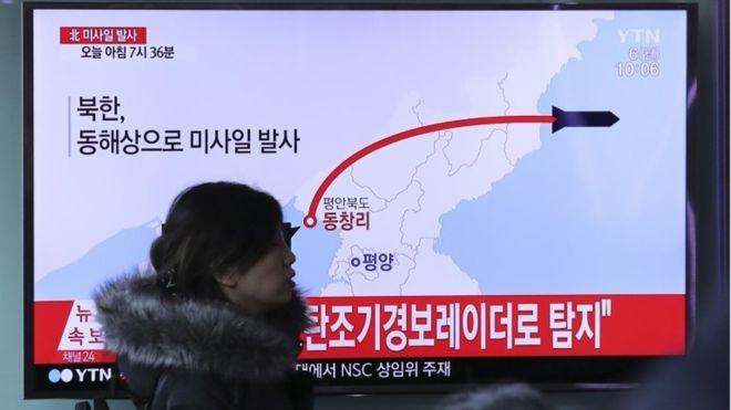 إتجاه الصواريخ الكورية الشمالية بحسب محطة تلفزيون كوريا الجنوبية