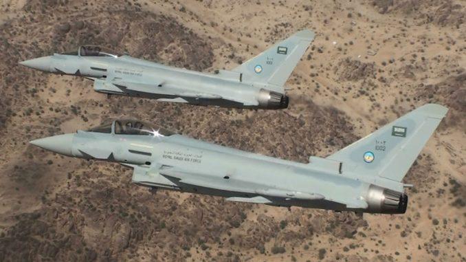 مقاتلتان من نوع تايفون تابعتان لسلاح الجو السعودي