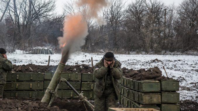 مدفع هاون تابع للجيش الأوكراني