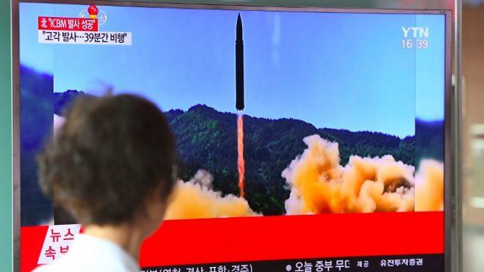 لقطة من الاختبار الصاروخي الكوري الشمالي (AFP)