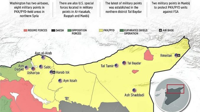 الخريطة التي تكشف تمركز القوات الأميركية في سوريا (الأناضول)
