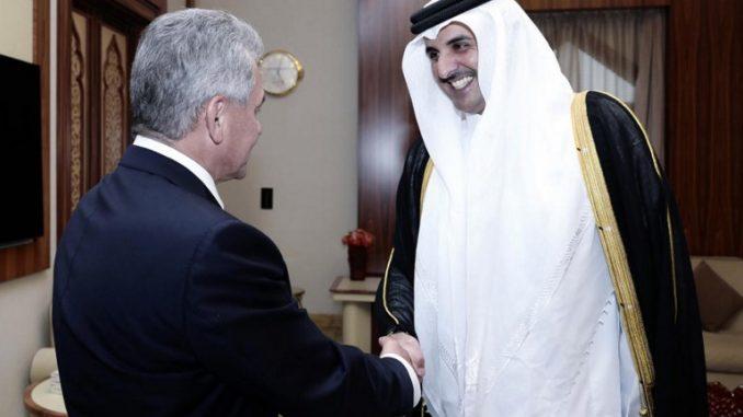 أمير قطر الشيخ تميم بن حمد آل ثاني ووزير الدفاع الروسي سيرغي شويغو (AFP)