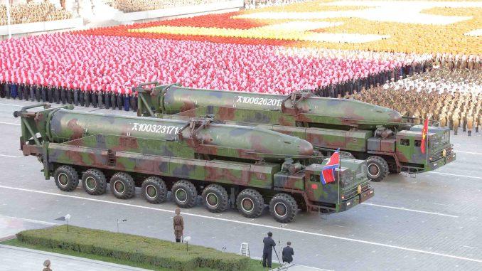صواريخ كورية شمالية خلال عرض عسكري