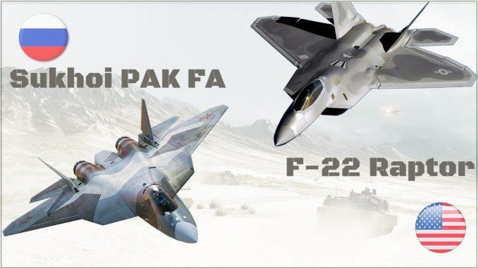 "مقاتلتا ""أف-22 رابتور"" وسو-57"""