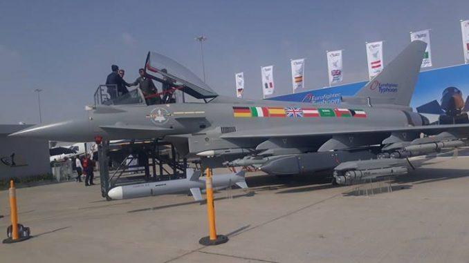 مقاتلة يوروفايتر تايفون خلال فعاليات معرض دبي للطيران 2017 (الأمن والدفاع العربي)