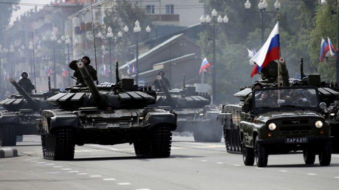 القوات الملحة الروسية خلال عرض عسكري