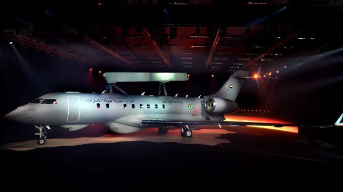 """طائرة GlobalEye الجديدة الخاصة بدولة الإمارات والتي كشفت عنها شركة """"ساب"""" في منشأة """"لينشوبنغ"""" في 23 شباط/فبراير الجاري (شركة ساب)"""