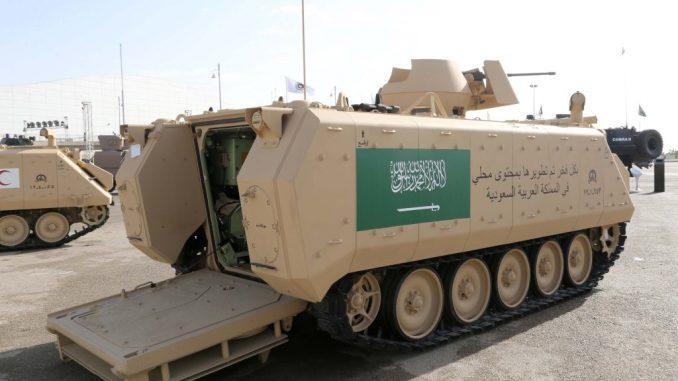 """مركبة عسكرية تم تطويرها بمحتوى محلي خلال معرض """"أفد 2018"""" (تويتر)"""