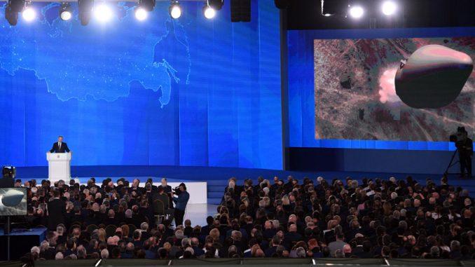 الرئيس الروسي فلاديمير بوتين خلال الرسالة السنوية للجمعية الفدرالية في 1 آذار/ مارس