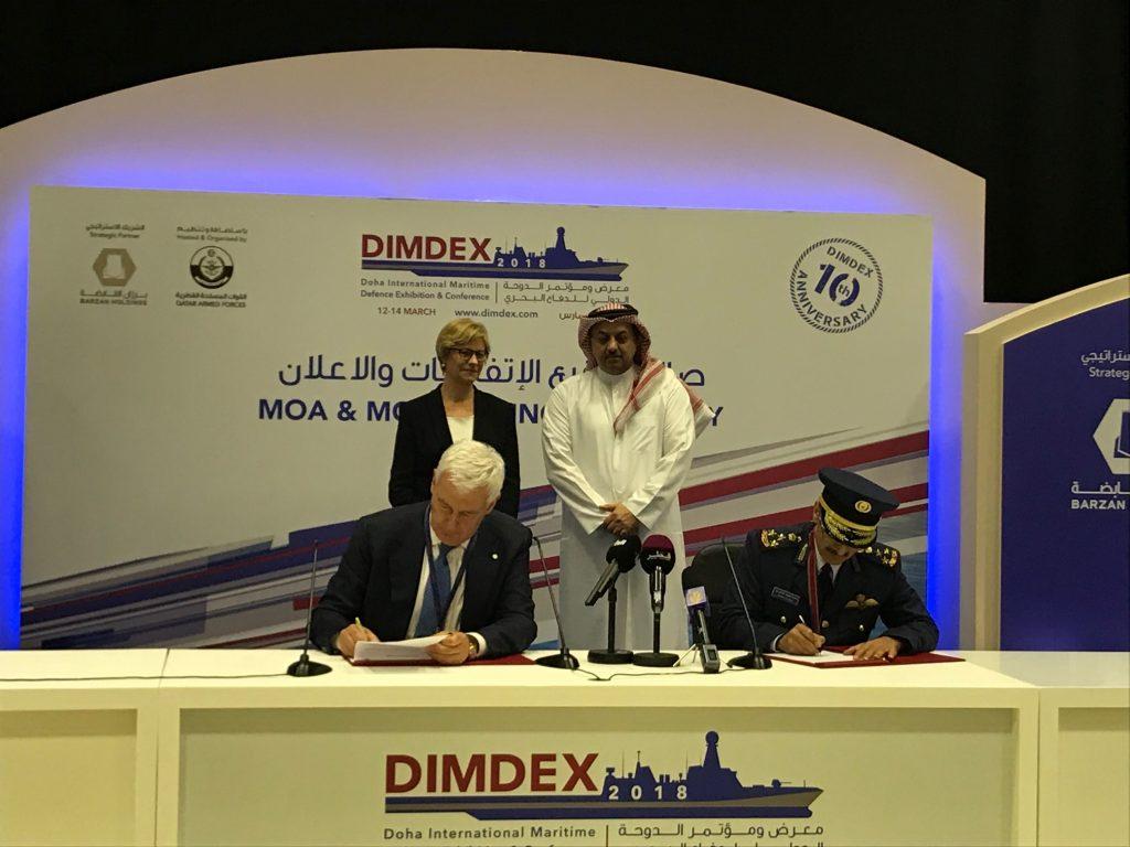 لثطة من توقيع اتفاقية تزويد قطر بـ28 مروحية NH90 بحضور وزيرة الدفاع الإيطالية ونظيرها القطري، على هامش فعاليات معرض ديمدكس 2018 البحري