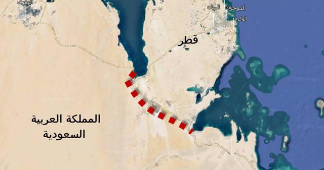 خريطة تُظهر خطاً باللون الأول دلالة على قناة سلوى البحرية على الحدود السعودية-القطرية
