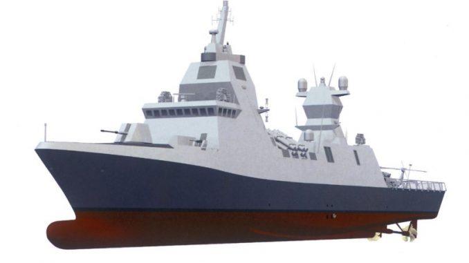 """نموذج مصوّر عن سفينة """"ساعر 6"""" الحربية التي ستحصل عليها البحرية الإسرائيلية من ألمانيا (شركة تايسن كروب)"""