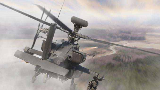 """صورة توضيحية لنظام APKWS على مروحية """"أباتشي"""" (شركة BAE Systems)"""