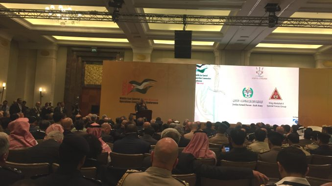 لقطة من مؤتمر MESOC 2018 في فندق فور سيسنز في عمان، الأردن يوم 7 أيار/مايو 2018 (الأمن والدفاع العربي)