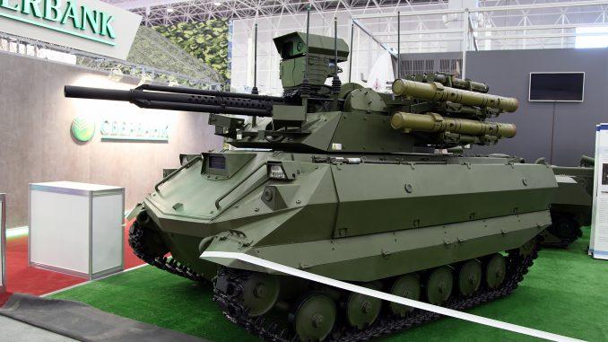 """المنصة القتالية الموجهة عن بعد الروسية """"أوران-9"""" خلال فعاليات المنتدى العسكري التقني ARMY-2016 في 5 أيلول/سبتمبر 2016 (Vitaly V. Kuzmin – ويكيبيديا)"""