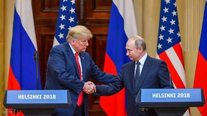 جانب من لقاء ترامب وبوتن في هلسنكي في 16 تموز/ يوليو