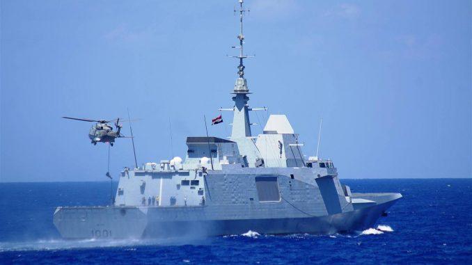 لقطة من التمرين البحري المصري الإيطالي لتعزيز التعاون في مجالات الأمن البحري، مكافحة الإرهاب، والأنشطة غير المشروعة (بوابة الدفاع المصرية)