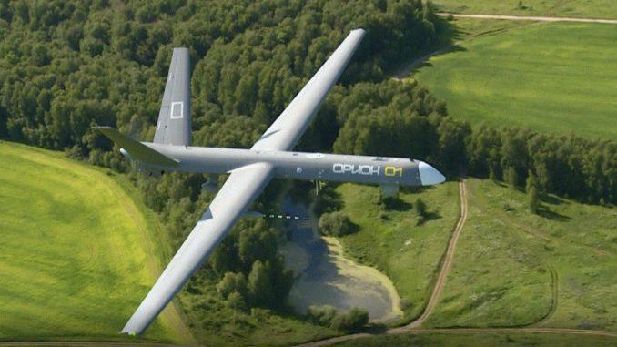 لقطة لطائرة Orion-E غير المأهولة وهي تحلّق ضمن فعاليات معرض MAKS الروسي السابق (Kronshtadt Group)