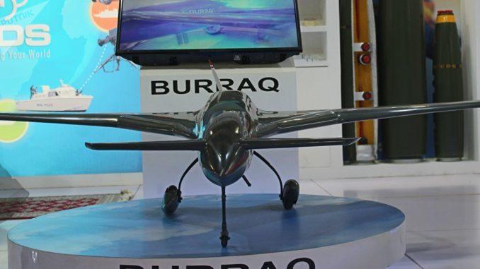طائرة البراق بدون طيار الباكستانية خلال معرض Edex 2018 في مصر