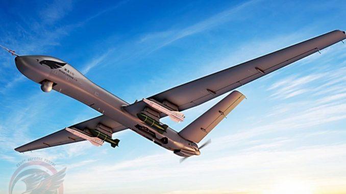 نموذج عن الطائرة من دون طيار الاستطلاعية/القتالية طراز Wing Loong-1D، التي تعاقدت عليها مصر بعدد 32 طائرة (بوابة الدفاع المصرية)