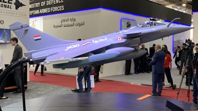 نموذج لمقاتلة رافال اي ام (تحيا مصر) خلال فعاليات معرض ايدكس ٢٠١٨ في القاهرة