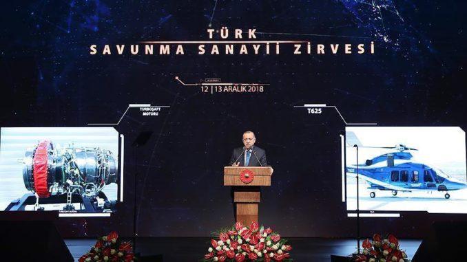 الرئيس التركي رجب طيب أردوغان خلال كلمته في ملتقى الصناعات الدفاعية التركية بالمجمع الرئاسي بالعاصمة أنقرة في 12 ديسمبر 2018 (وكالة الأناضول)