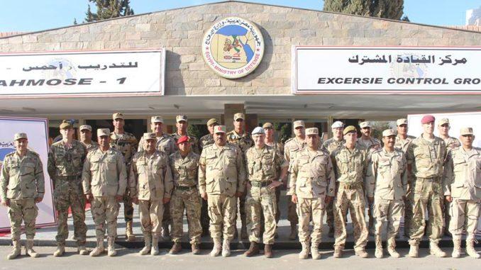 صورة للقوات المشاركة في تدريب أحمس-1 المصري-البريطاني المشترك في آذار/ مارس 2019